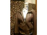 Oasis Brown leather jacket size 14