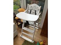 White wooden highchair with insert