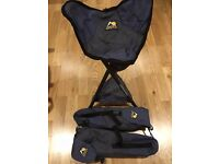 Two foldable GCI camping stools/packseats and bags
