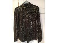 ZARA gold foil black leopard print shirt