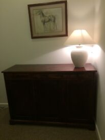 Dark oak dining set with matching sideboard, box coffee table and lamp table