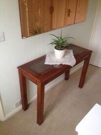 "Narrow Hall Table, inlay glass top. 40"" X 14.5"" x27"" High"