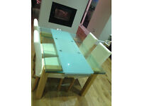 Designer glass table and chairs (extendable)