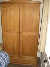 Pine double wardrobe with full width draw