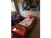 Disney cars red car lightning McQueen toddler bed and bedroom items shelf bedding night light lamp
