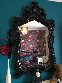 Very large black scroll detail feature mirror