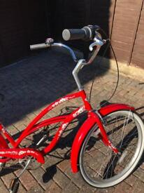 Electra Hawaii Beach Cruiser in Red with Hibiscus tyres - Retro