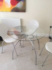 Chrome and Glass Dining Room Table Seats 4 - excellent condition