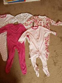 6 x 12 - 18 month new baby gro sleepsuits and minnie fleecy pjs