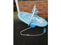 Blue harmony baby bouncer with sound and vibration setting