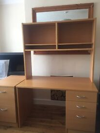Study desk and filing cabinet. Lovely beech veneer study desk & shelf with matching filing cabinet