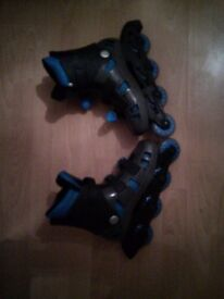 Blue roller blades