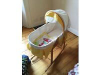 Moses basket with rocking stand, sheets, mattress, sunshade