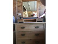 Antique chest of drawers or dressing table with mirror