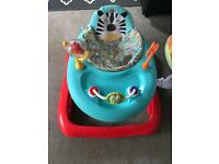 Baby walker and high chair, very good condition.