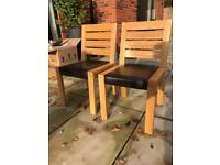 Dining chairs x 2 solid oak