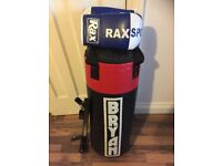 Boxing punch bag with gloves and wall bracket