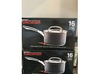 3 new circulon non stick saucepans in original boxes, high quality suitable for all hobs.