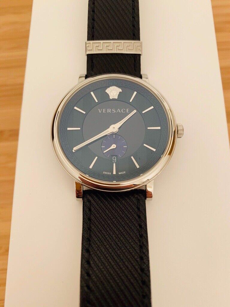 ad6149af27 Versace VBQ010017 Men s Blue Manifesto Wristwatch Versace pouch ...