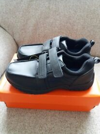 Boys black wide fit size 4 (37) school shoes, brand new and unworn