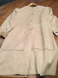 ZARA Suedette three quarter length lightweight jacket not lined with gold popper buttons