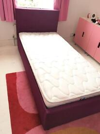 Plum upholstered single bed with mattress