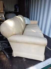 LARGE 7-FOOT (2.2M) SOFA SOLIDLY BUILT IN BEIGE/CREAM LINEN/CANVAS