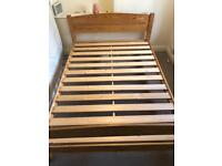 Wood Standard Double Bed with Matress