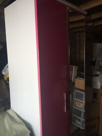 Wardrobe Pink & White 1980 high 740 wide 520 deep ***IT'S FREE ***