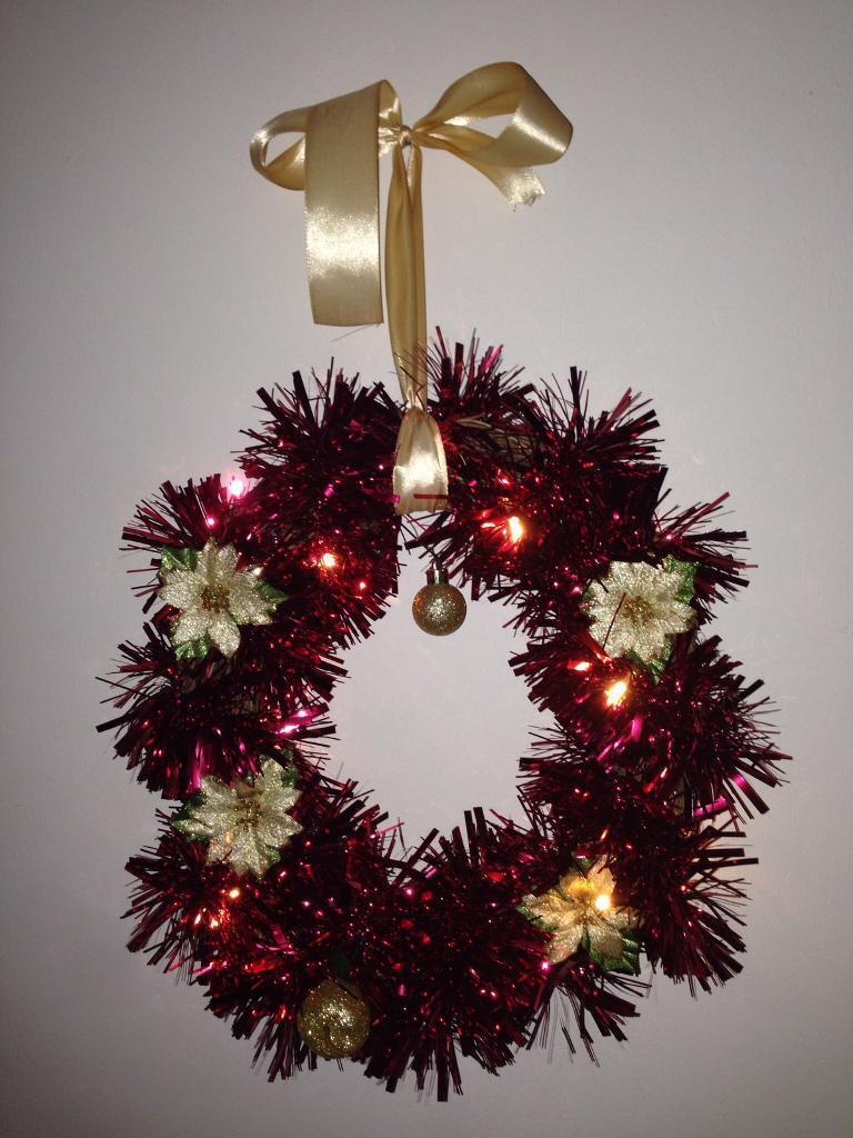 Door wreaths with fairy lights