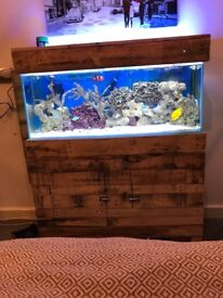 Full MARINE aquarium set up. 3 foot 125L tank and cabinet