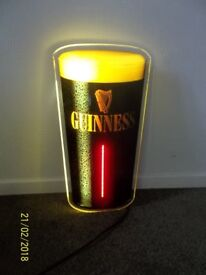Large 23 Inch Vintage 1980's Guinness Light up Sign In Excellent Clean Condition