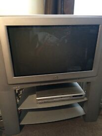 """28"""" JVC television and stand - Dolby surround pro logic 3D InteriArt. Excellent condition."""