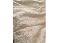 Pair of light coloured curtains brocade fabric with gold thread running through