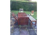 Garden table + bench + 4 chairs set