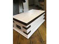 Pine Vintage white Chest Trunk with Metal Coffee Table Storage