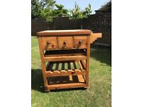 Mexican pine rustic kitchen/dining trolley with drawers and wine rack