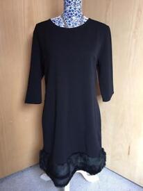 Brand New Ladies Fur Trim Dress - Size 12-14