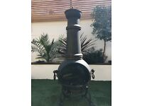 Toledo Cast Iron Chimenea and BBQ with Pizza Stone and Pizza Spatula