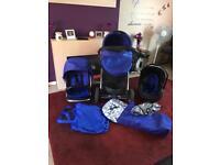 Blue Oyster Travel System. Pram, Buggy & Car Seat