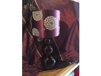 Tall Burgundy Next table lamp and shade