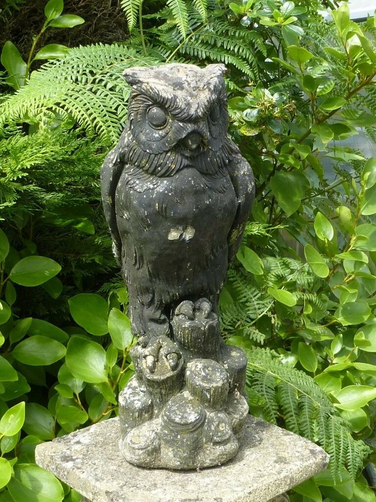 Stone Owl Garden Ornaments Vintage large cast stone eagle owl garden ornament garden statue vintage large cast stone eagle owl garden ornament garden statue 43cm tall workwithnaturefo