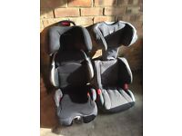 Child's booster car seats. One heavy duty metal framed, one grey lightweight Graco.