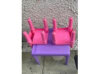Kids ELC table and 2 chairs