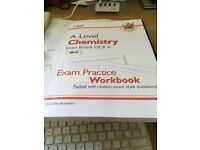 CGP A level Chemistry OCR A exam practice workbook. 5 pages of 194 done as exams cancx RRP £10.99