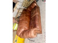 Leather Tan Chesterfield 3 Seater Sofa / Settee. Thomas Lloyd, £1200 new!