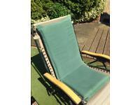 Set 6 green garden chairs seat pads