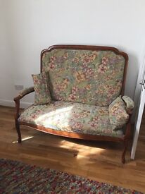Antique french settee floral