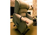 NEW & HALF PRICE Rise & recliner chair, Guardsman treated, in Pimlico crush light green