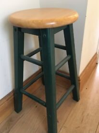 Nice pair of kitchen stools, pine seats with green legs.